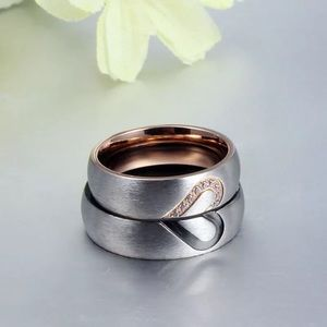 2pcs Heart Wedding Promise Couple Rings
